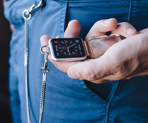 Become the ultimate hipster in town by transforming your Apple watch into a distinguished pocket watch. This clever attachment allows you to turn your fancy iGadget from a plain wristwatch into either an eye catching necklace or pocket watch.