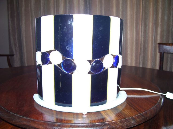Blue and white fused lamp