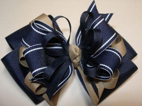 Large Back to School Hair Bow Toddler to Big Girl Boutique Uniform Navy Khaki Summer Nautical. $8.50, via Etsy.