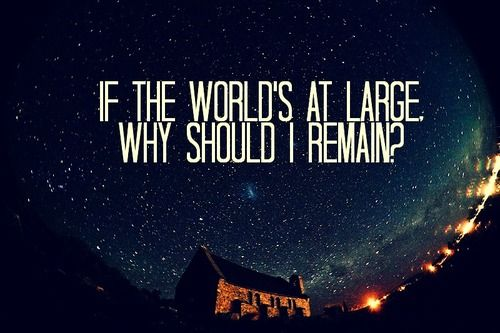 If the world's at large, why should I remain? - Modest Mouse