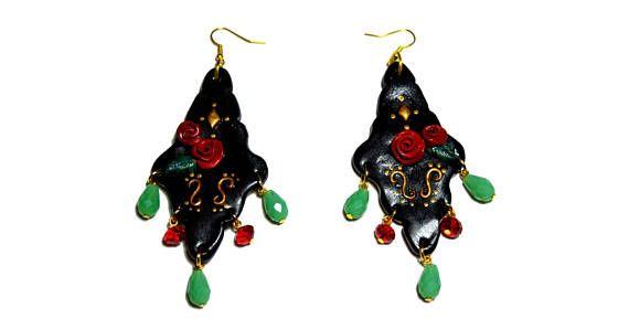 Christmas gift, Chandelier earrings, Baroque rose earrings, Frida Kahlo earrings, polymer clay dangle earrings, statement earrings  #chandelier #baroque #fridakahlo #fridaearrings #dangleearrings #rose #statement #statementearrings #christmasgift #giftforeher