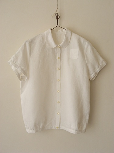 Round collar blouse LINNET Linen blouse Linen blouse No.40. made in Japan