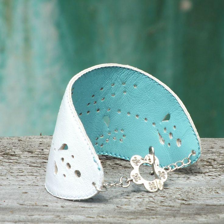 leather bracelet 2in1  Kožený náramek oboustranný - bílá-tyrkysová