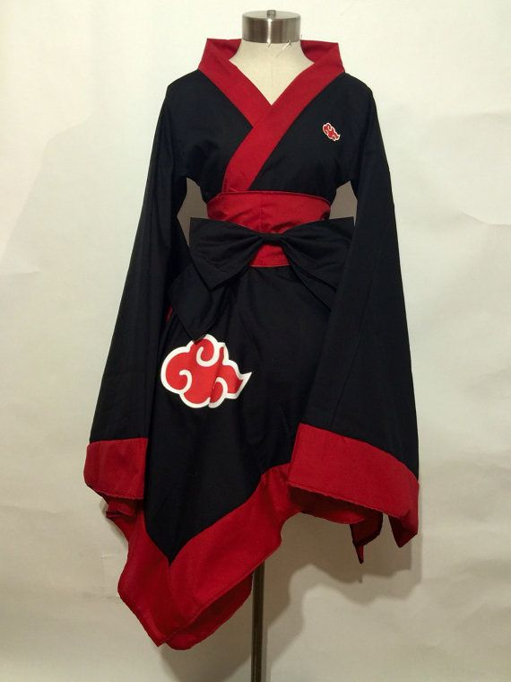 Naruto Kimomo Dress - Wide collar - Asymmetric hem with flat trim - Kimono sleeves with flat trim - Obi and bow set - Akatsuki cloud symbol on