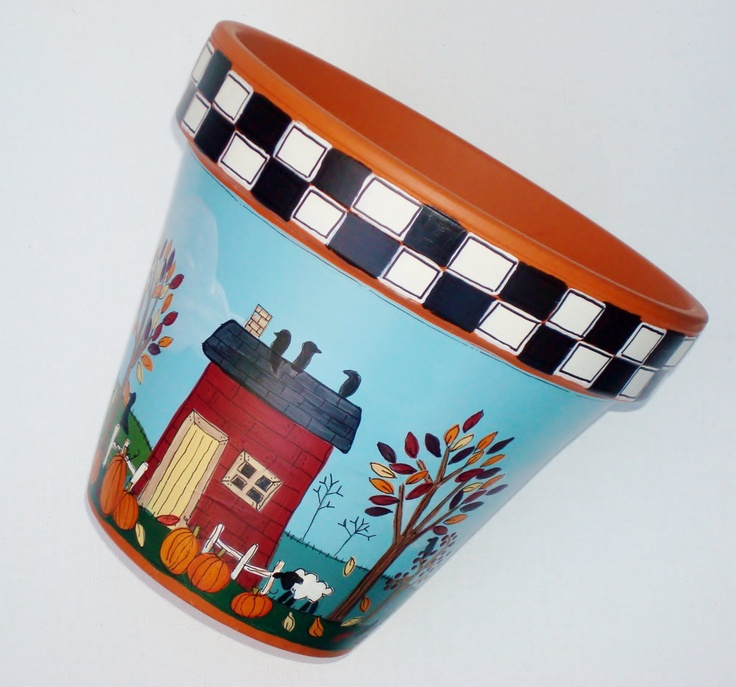 Hand Painted Pot- 8 Inch