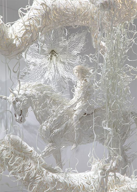 Amazing fantasy fairytale sculpture art made from paper !  by Motohika Odani