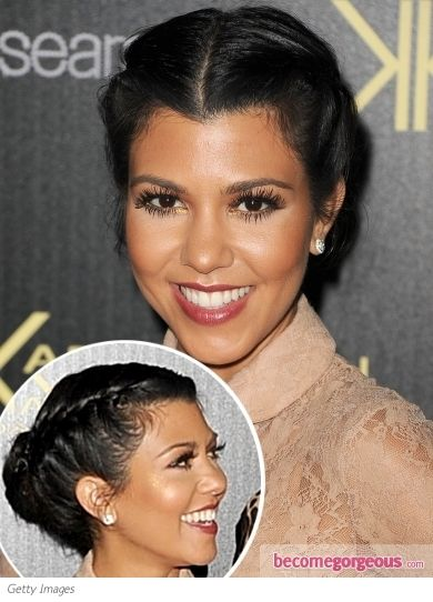 Pictures : Kourtney Kardashian Hairstyles - Kourtney Kardashian Double Braid Updo