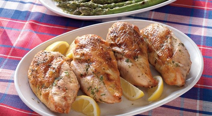 Lemon-Butter Chicken Breasts with Asparagus || Serves: 4 || Prep time: 20 minutes || Grilling time: 41 to 43 minutes