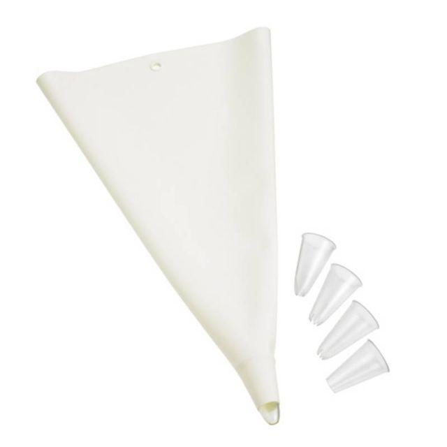 Silikonowy rękaw do dekoracji z 4 końcówkami, biały
