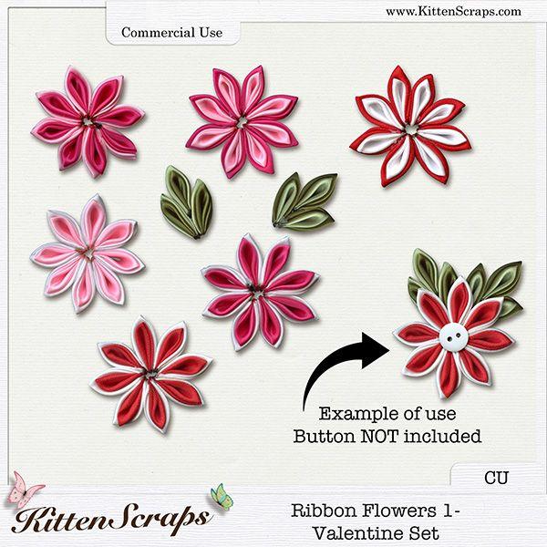 Ribbon Flowers 1-Valentine Set {CU} CU Product by KittenScraps, Digital Scrapbooking,