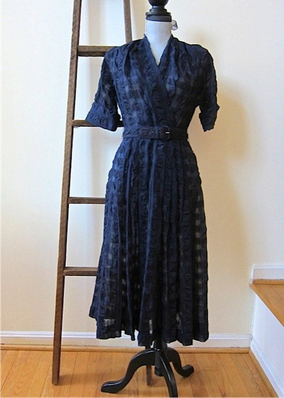 1950s Navy Organza Dress by Ann Allyn Puckered by TooArtfulForYou, $105.99