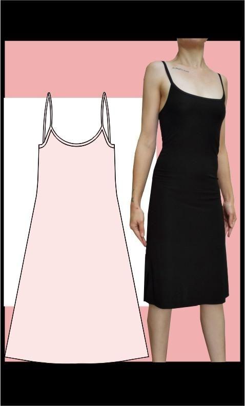 Strap dress, knee length sewing pattern, Athleisure Fashion