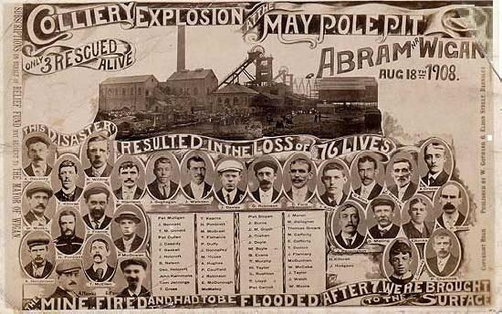 Colliery explosion Maypole pit Wigan Aug 18th 1908 76 lives lost