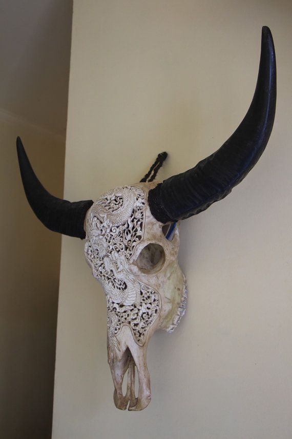 Handmade Wall Art Decor Long Horn Buffalo Skull by ayujewelry, $375.00   #handmade #skullcarving #wallart #walldecor #interior  By Ayu Jewelry https://www.etsy.com/shop/ayujewelry
