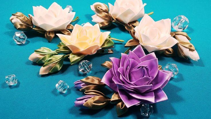 Ribbons or fabric kanzashi rose/Rose kanzashi de tela o cintas/Роза канз...