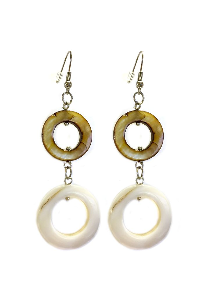 One Button mother of pearl double circle drop earrings #natural #coffee #mop #creamwhites #earrings #accessories #onebutton Click to buy from the One Button shop.