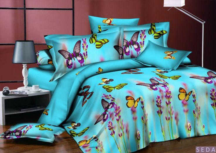 Постельное белье, поплин 3d, голубое, арт. pl-06 Комплект голубое - фиолетовое - бирюзовое постельное белье из поплина. Эффект 3d. Рисунок: бабочки, цветы, природа. 4 размера - комплектации. Выберите нужный Вам размер и положите его в Вашу корзину!