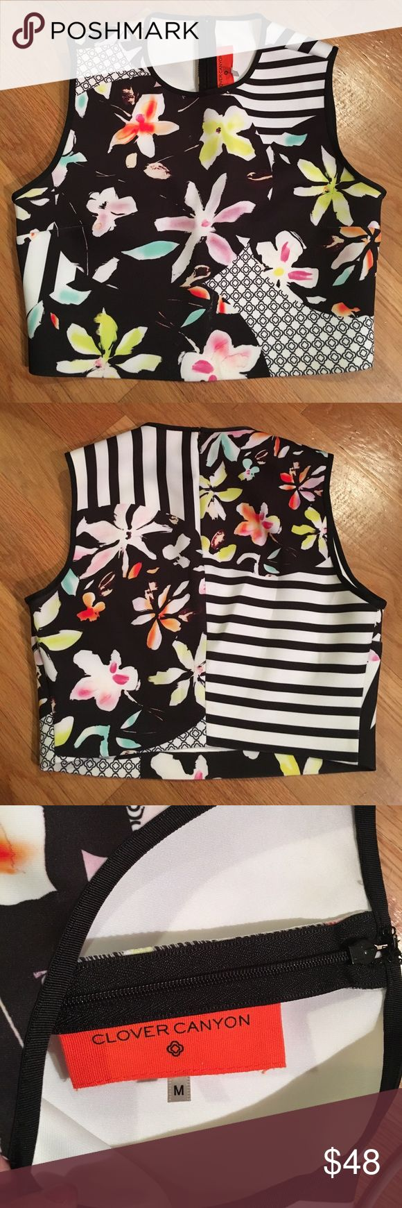 Clover Canyon Crop Top Clover Canyon Crop Top. Size medium. Black and white abstract print with pink, yellow, purple, orange flowers. Back zipper with top hook and eye closure. Excellent used condition! Clover Canyon Tops Crop Tops