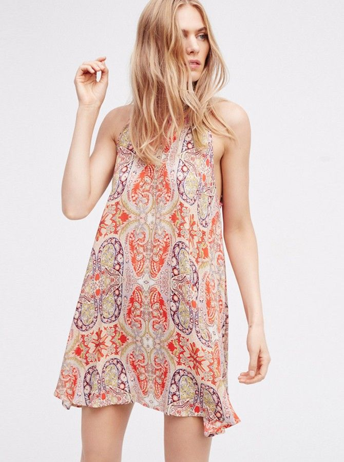 9040cfd6011a High Neck Sleeveless Open Back Short Tunic Floral Printed Dress with cheap  wholesale price