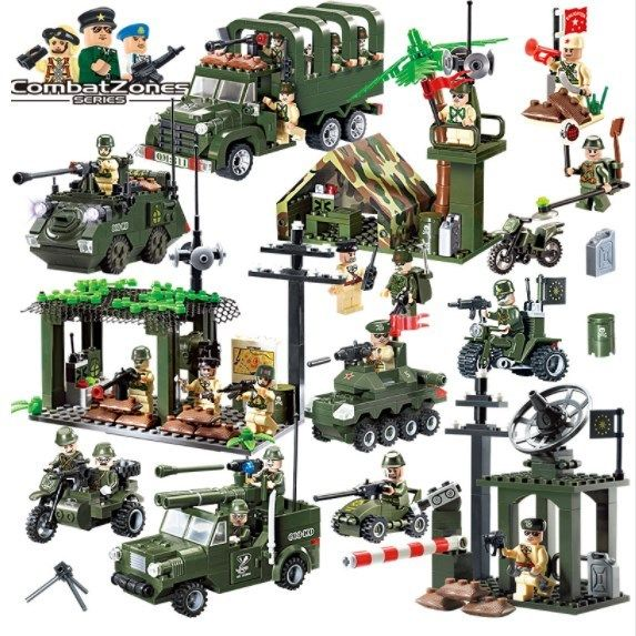 Military Educational Building Blocks Army Cars Planes Helicopter Weapon Toys