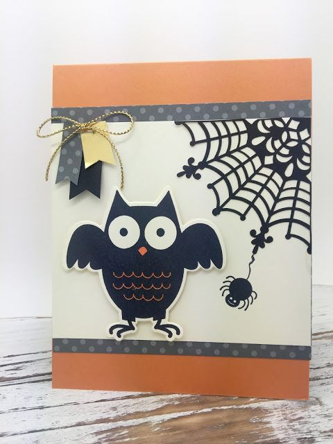 A Halloween card using the Howl-O-Ween Treat Bundle from Stampin' Up!. #pinkblingcrafter, #halloweencard, #owls, #sketch, #challenge, #normapimentel