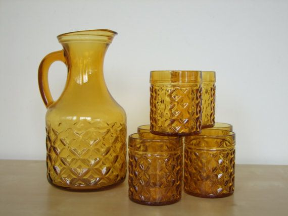 Beautiful Retro Amber Glass Jug and Glasses, Pitcher/Serving