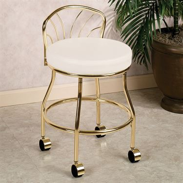 Flare Back Metallic Finish Vanity Chair with Casters – Mary Lou Worley