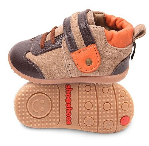 Sand Brown & Orange Velcro Trainer   www.shooshoosuk.com