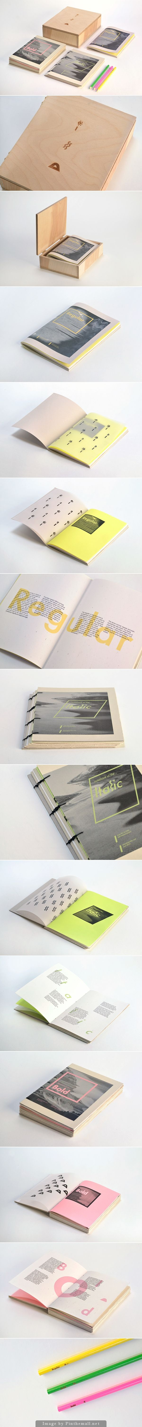 Font Book by Pin-Ju Chen (Portfolio Inspiration) Good: box, icons on front, book placement  To Be Better: logo instead of icons, 1 book = smaller depth, make leather pouch on inside for postcard, BCs, or take away?