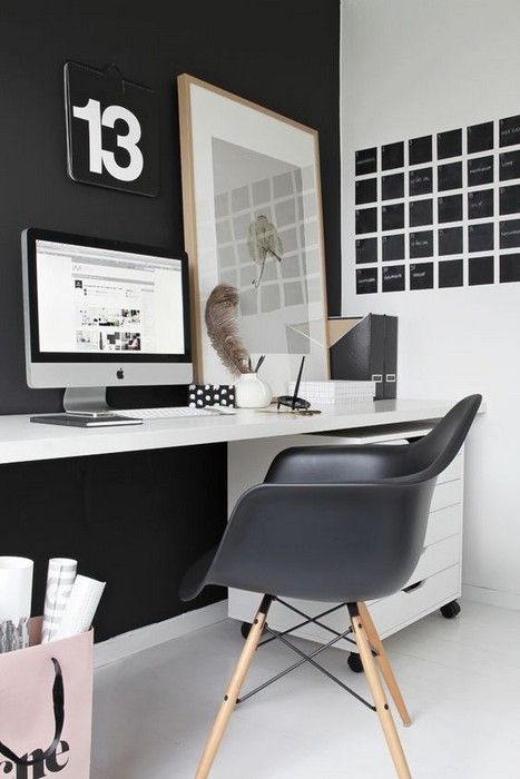 Black and white office with eames chair