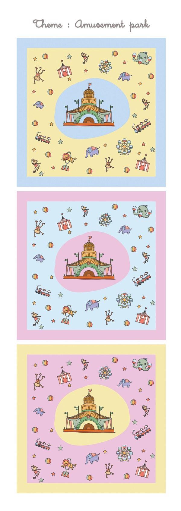 Pattern handkerchief : Amusement park by TZID , via Behance