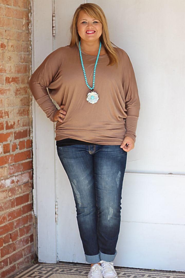 One Faith Boutique - Super Soft Long Sleeve Dolman Top ~ Taupe ~ Sizes 12-18, $34.00 (http://www.onefaithboutique.com/new-arrivals/super-soft-long-sleeve-dolman-top-taupe-sizes-12-18/)