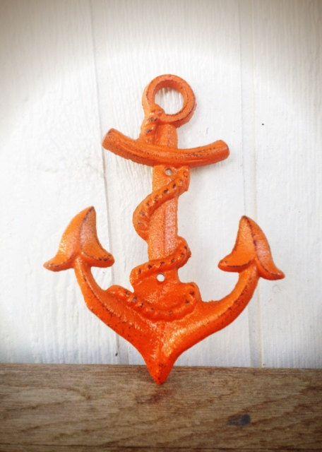BOLD sunset orange NAUTICAL anchor hook // wall coat by BOLDHOUSE, $15.00
