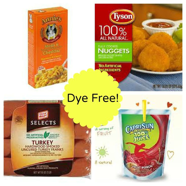 Dye free kid foods - lists for breakfast, lunch, dinner, snacks, etc