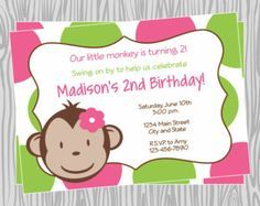 DIY  Girl Mod Monkey Birthday Cupcake Toppers Coordinating