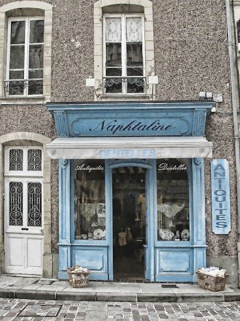 beautiful storefronts   Vintage sky blue. beautiful! Naphtaline   ...   Storefronts & Signage