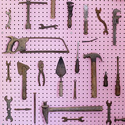 tool org: Workshop Garage Ideas, Peg Board, Vintage Tools, Garages, Sunset, Collectibles Tools Workshop, Pink Pegboard, Display Ideas