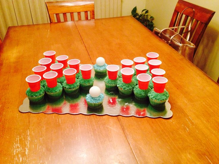 Beer pong 21st cake!  Fill shot glasses with fireball!  Fun and cute!