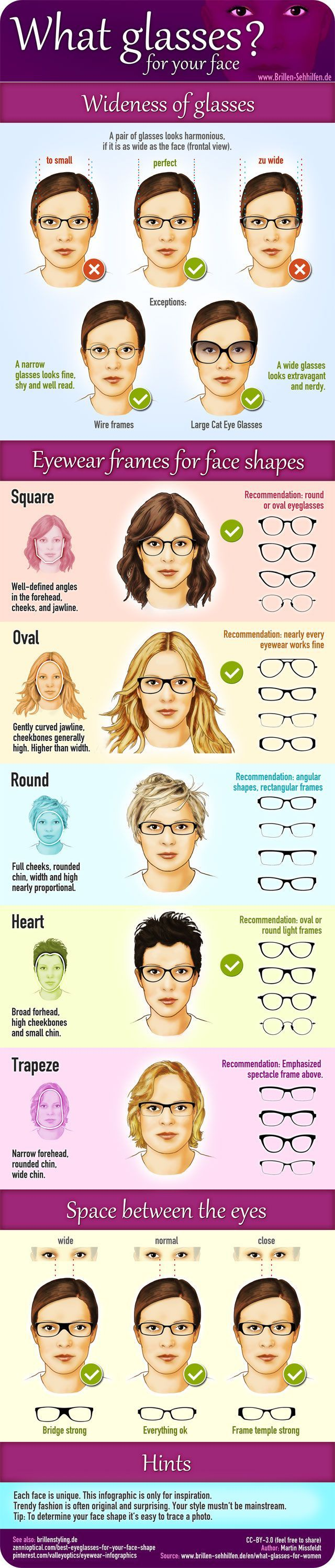 Trend Woman 50 years: Which frame of glasses for female face? #infographic #glasses #fashion #eyes