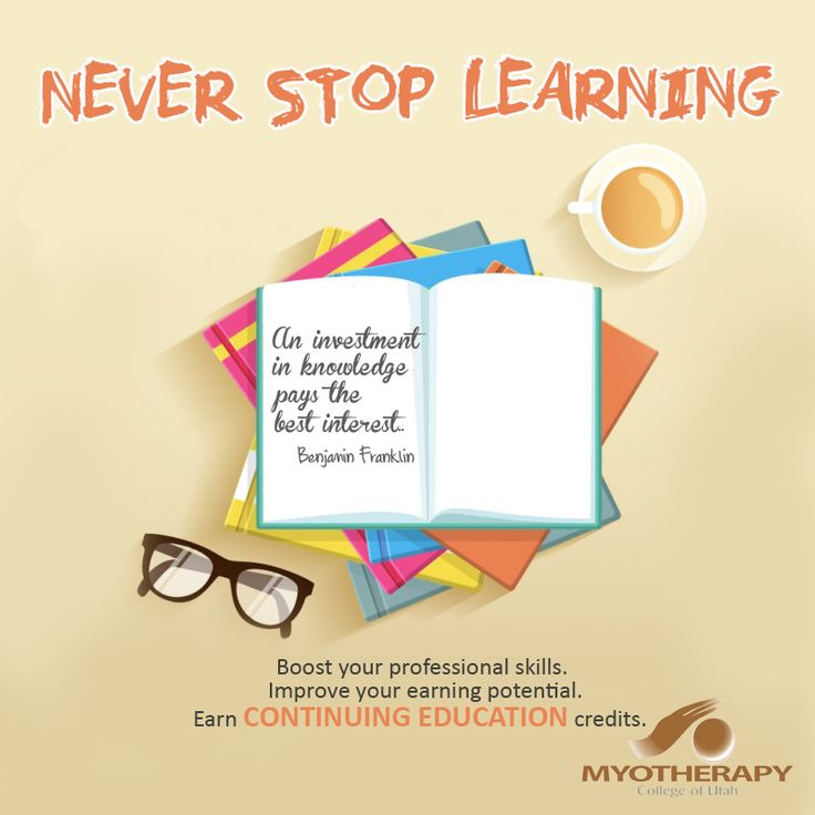 Be more competent! Invest in Continuing Education with us. Check out http://www.myotherapycollege.com/continuing-education/ for more information. Enroll now! Growth is good!