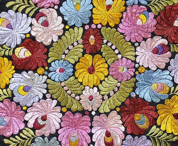 Hungarian antique silk embroidery..