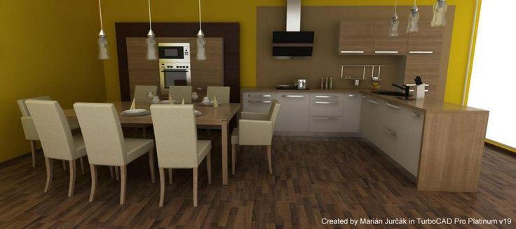 Kitchen design/rendering created by Marián Jurčák in TurboCAD Pro Platinum CAD software.