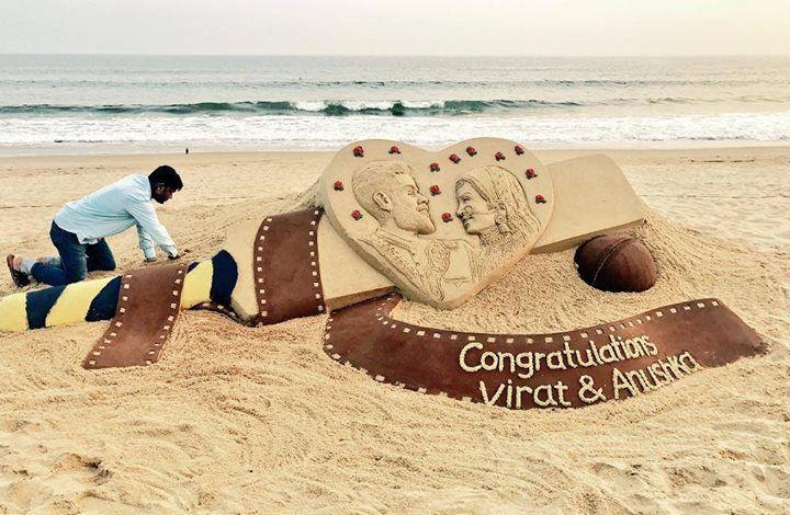 Sudarsan Pattnaik's beautiful Sand Art ft. Virat Kohli & Anushka Sharma at Puri Beach in Odisha - http://ift.tt/1ZZ3e4d