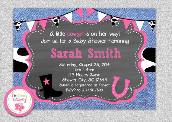 Cowgirl Baby Shower Invitation Cowgirl Baby by TheTrendyButterfly #cowgirl #babyshower #western