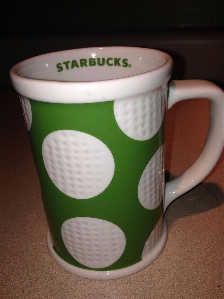 Starbucks Golf 2007 Coffee Mug 16 Ounce Green & White Cup #Starbucks