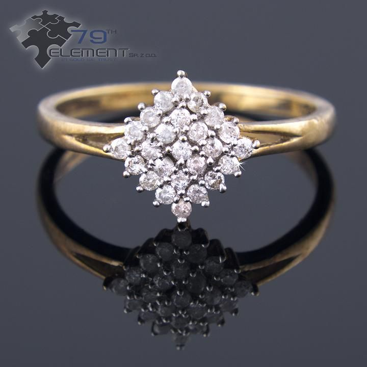 Ring made on yellow gold with 25 diamonds, 79diamenty.pl