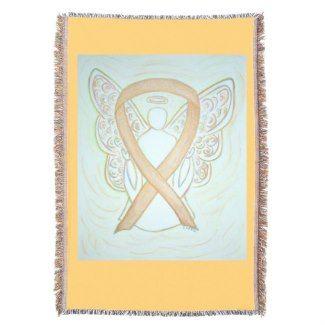 Gold Awareness Ribbon Angel Custom Throw Blanket