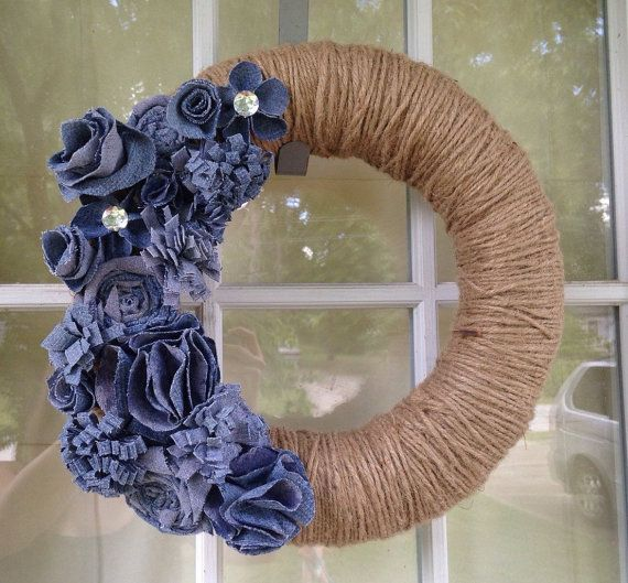 Neutral wreath    Jute and denim wreath- jute wrapped wreath with handmade denim flowers