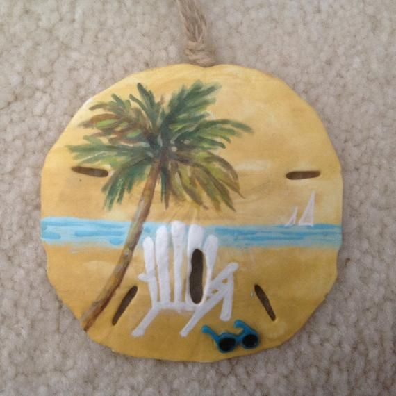 Lazy Day, Hand Painted Sand Dollar Ornament, Beach Ornament, Beach Christmas, Seashells, Coastal Decor