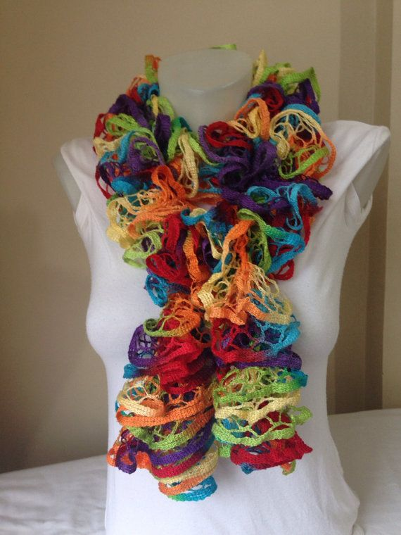 Knitted Scarf in GreenOrangePurpleRed and Blue by Yellowcrochet
